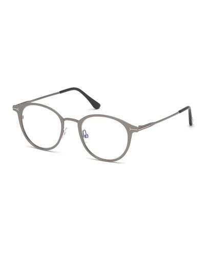 Men's Blue Light-Blocking Oval Metal Optical Glasses, Matte Gunmetal