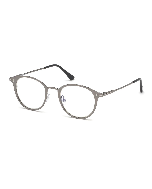 Men's Blue Light-Blocking Oval Metal Optical Glasses