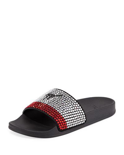 Men's Crystal-Embellished Athletic Slide Sandal