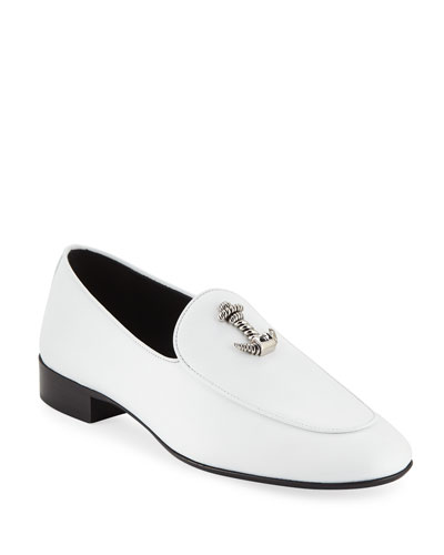 Men's Dressy Leather Loafers with Anchor Detail