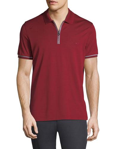 Men's Tipped Zip-Up Polo Shirt