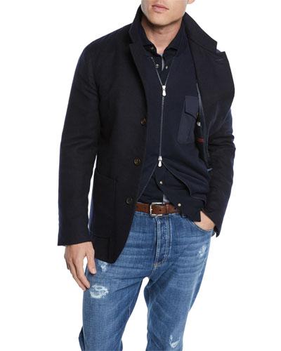 Men's Outerwear Coat with Bib