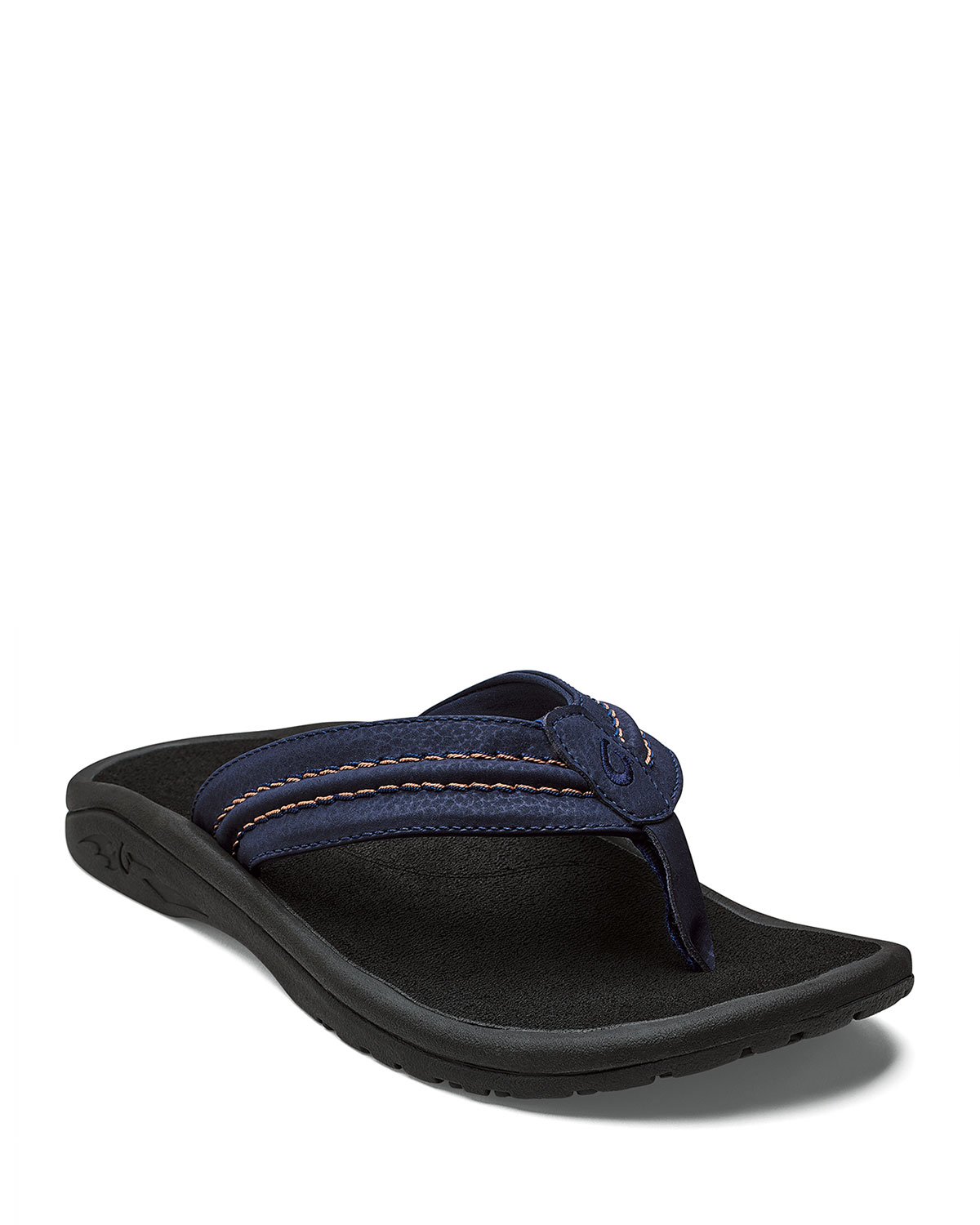 OLUKAI Men'S Hokua Faux-Leather Flip-Flop Sandals in Trench Blue/ Black