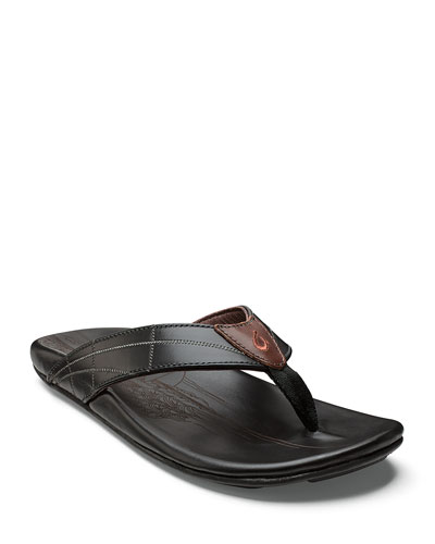 Men's Hokulea Kia Leather Flip-Flop Sandals