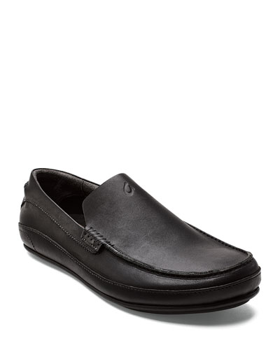 Men's Kulana Leather Slip-On Loafers, Black