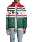 Iceberg Men's Logo-Striped Puffer Jacket