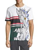 Iceberg Men's Striped Sylvester Cat Graphic T-Shirt