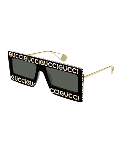 Men's Monochromatic Shield Sunglasses w/ Crystal Logo Front