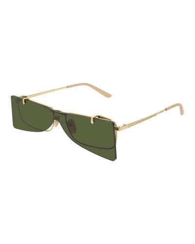 Men's Rectangle Clip-On Metal Sunglasses