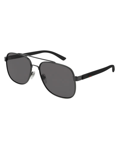 Men's GG0422S001M Aviator Sunglasses