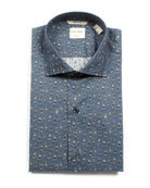 Culturata Men's Tailored Fit Retro Boxer-Print Dress Shirt