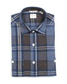 Culturata Men's Tailored Fit Large Plaid Dress Shirt