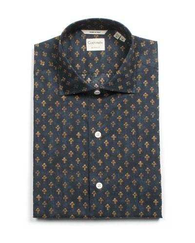 Men's Tailored Fit Fleur de Lis Dress Shirt