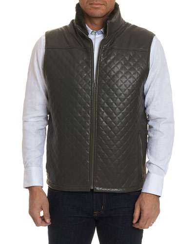 Men's Fowler Quilted Leather Zip-Front Vest