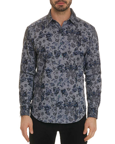 Men's Barker Oxford Floral Classic-Fit Sport Shirt