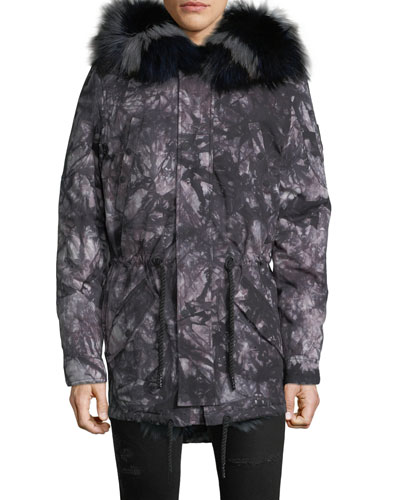 Men's Pelican Fur-Trim Parka Coat