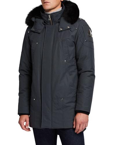 Men's Stirling Down Parka Coat with Fur Trim