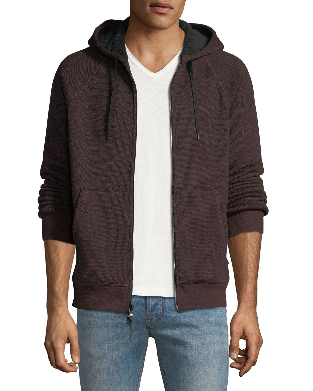 Men'S Sherpa-Lined Zip-Front Hoodie, Dark Red