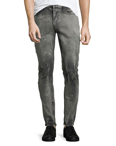 Men's Vaughn Skinny Ankle-Zip Deconstructed Jeans