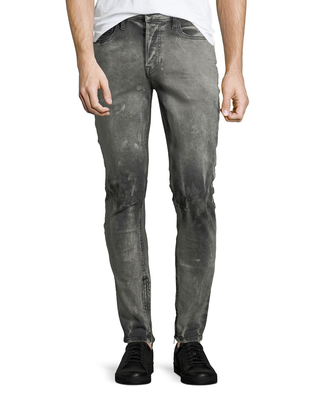 Men'S Vaughn Skinny Ankle-Zip Deconstructed Jeans, Stonehouse