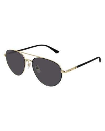 Men's GG0388S006M Metal Aviator Sunglasses