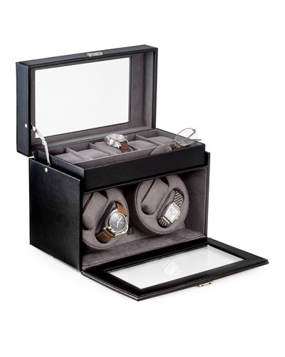 Men's Leather Watch Winder and Storage Case
