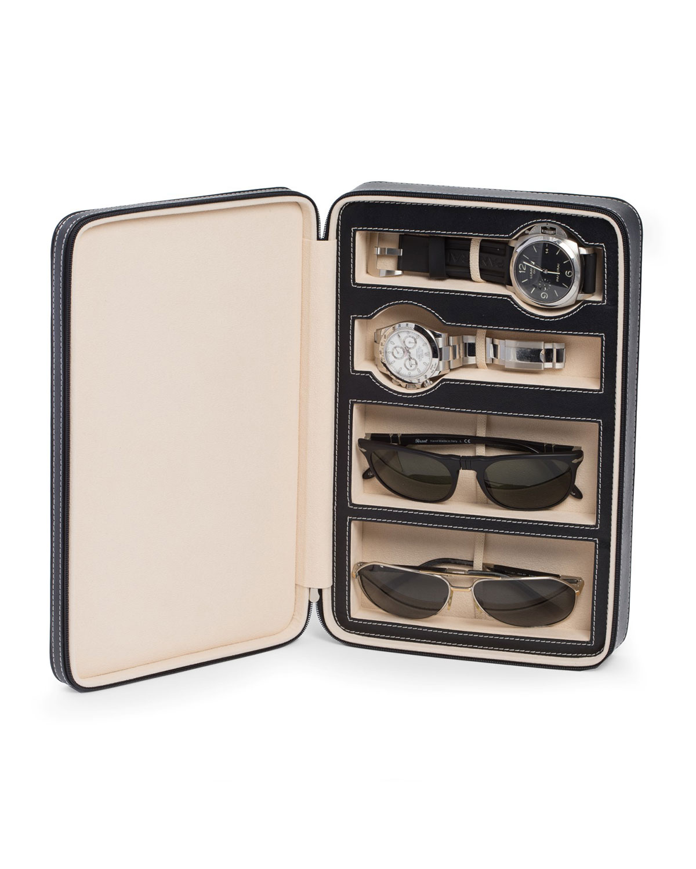 Leather Watch & Sunglasses Storage Case