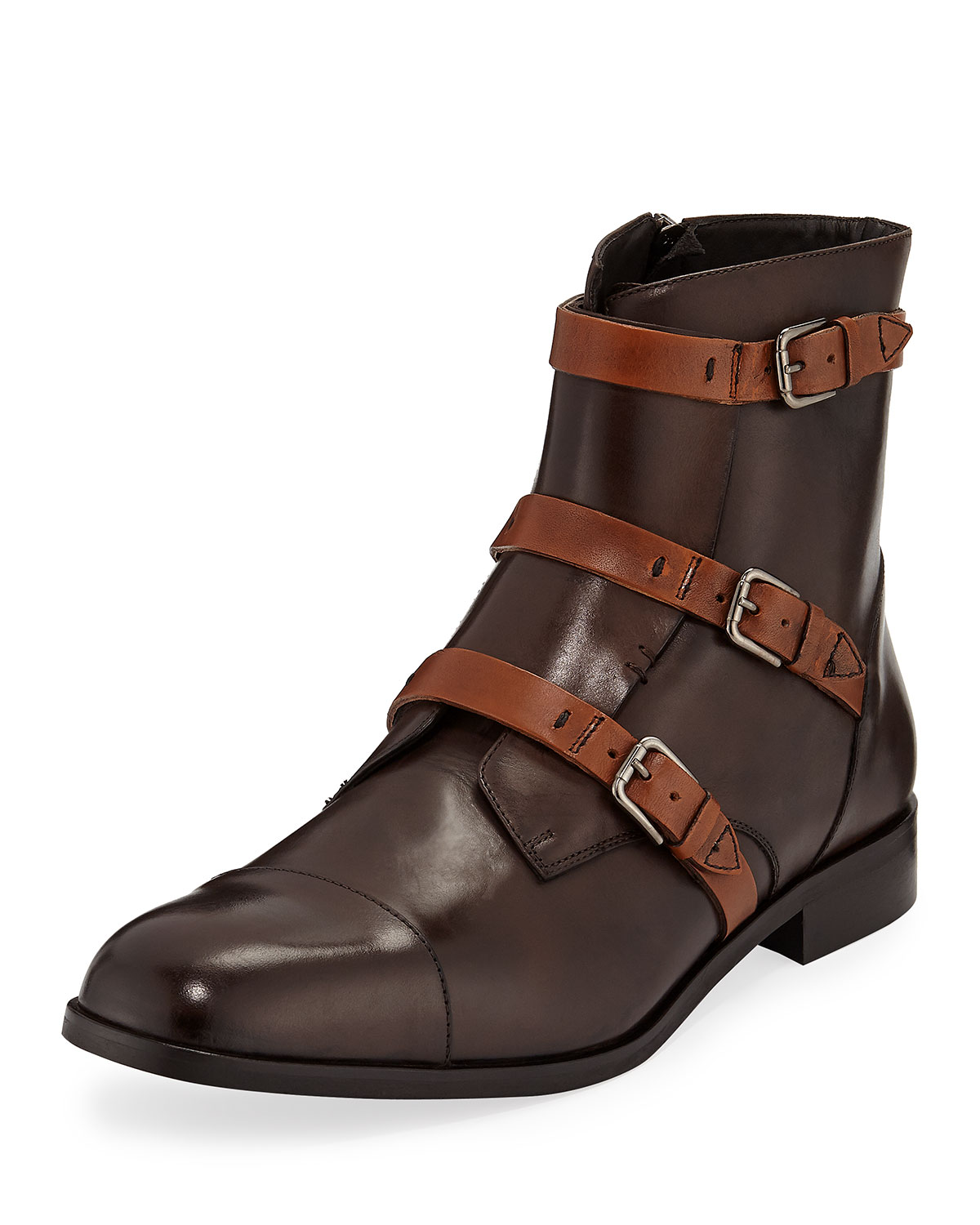 DONALD J PLINER Men'S Martino Triple-Strap Leather Boots in Chocolate