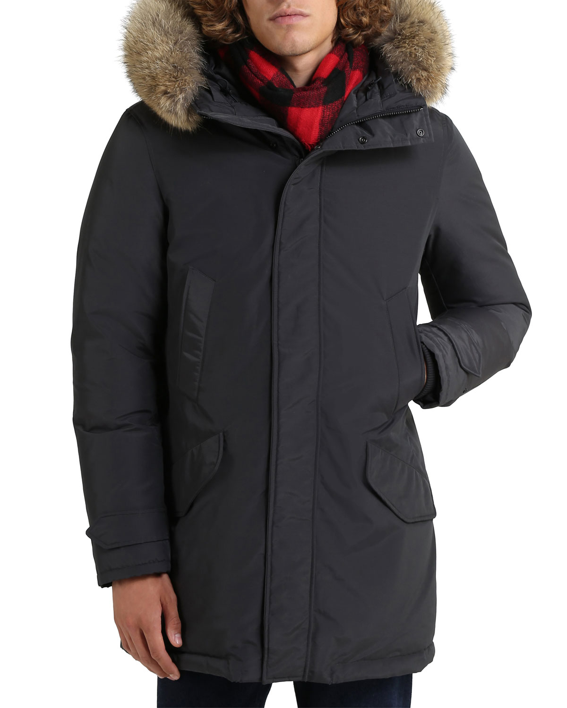 Men's Polar Parka Coat with Fur Trim