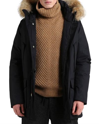 Men's Laminated Cotton Parka Coat with Fur Trim