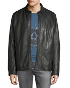 Andrew Marc Men's Cafe Lambskin Racer Jacket