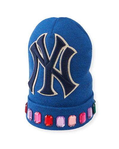 Men's Jewel-Trim New York Yankees-Applique Beanie Hat