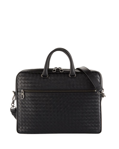 Men's Slim Woven Leather Briefcase