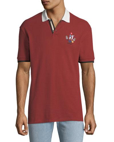 Men's Animals Contrast-Trim Polo Shirt, Red
