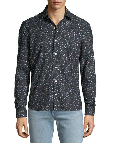 Men's Abstract-Print Sport Shirt