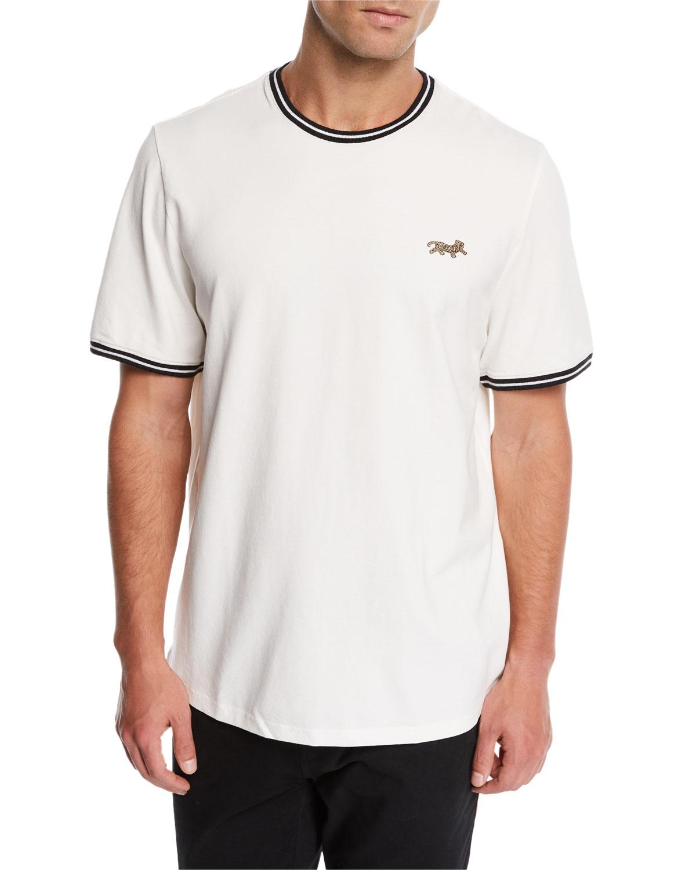 OVADIA & SONS Men'S Leopard-Applique Pique T-Shirt in White
