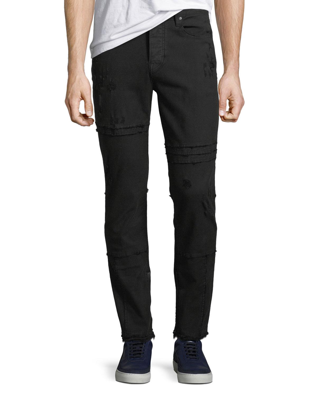 Men'S Vaughn Skinny Ankle-Zip Distressed Jeans, Black
