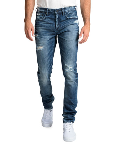 Men's Windsor Fit Stretch Denim Jeans with Rip/Repair