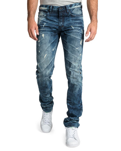 Men's Le Sabre Distressed Dark-Wash Jeans with Abrasions