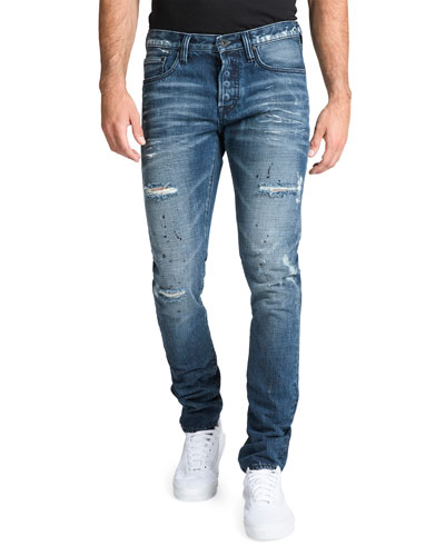 Men's Le Sabre Distressed Jeans with Abrasions