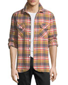 Ovadia & Sons Men's Ian Flannel Plaid Overshirt