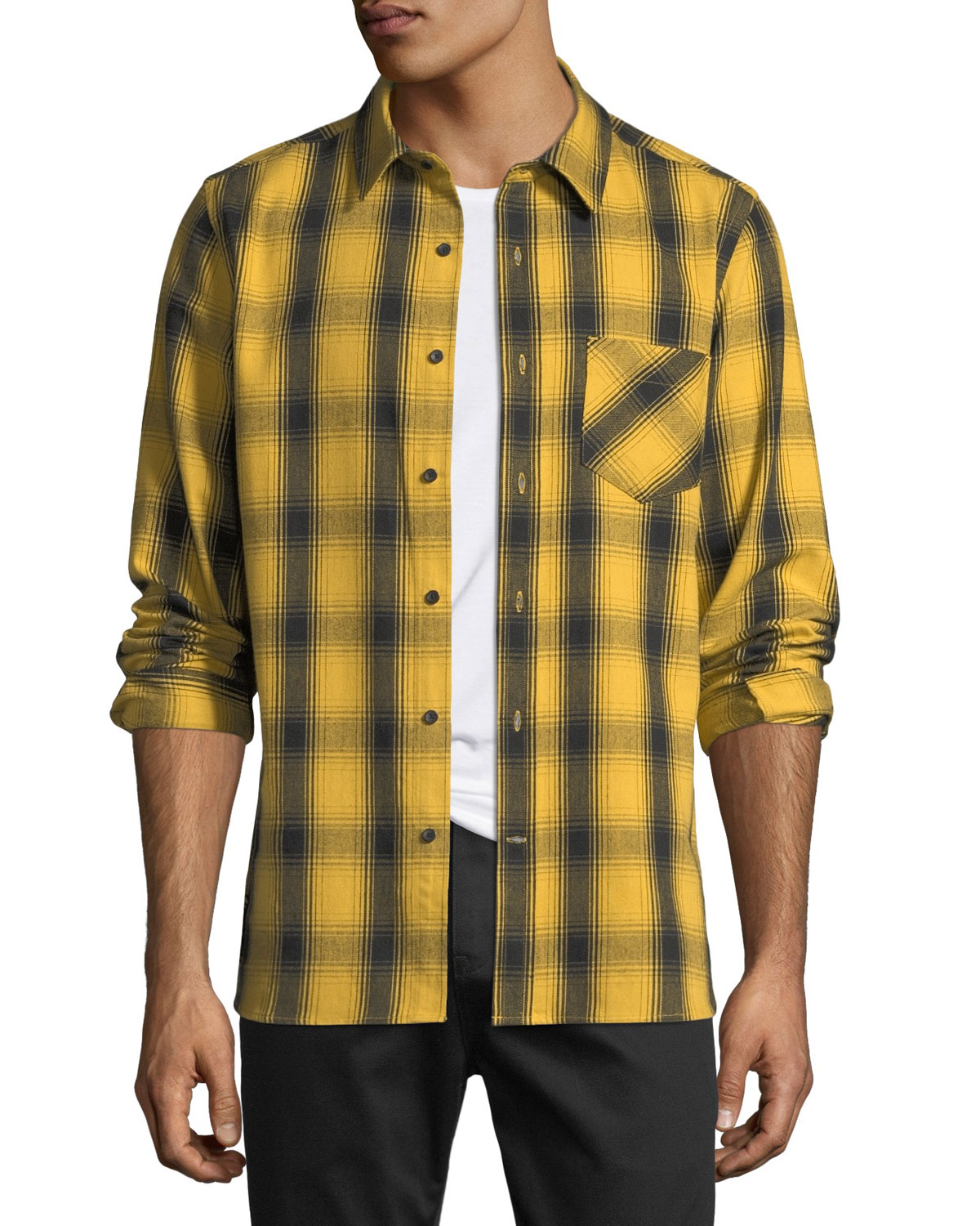 OVADIA & SONS Men'S Max Plaid Cotton Sport Shirt in Gold Plaid