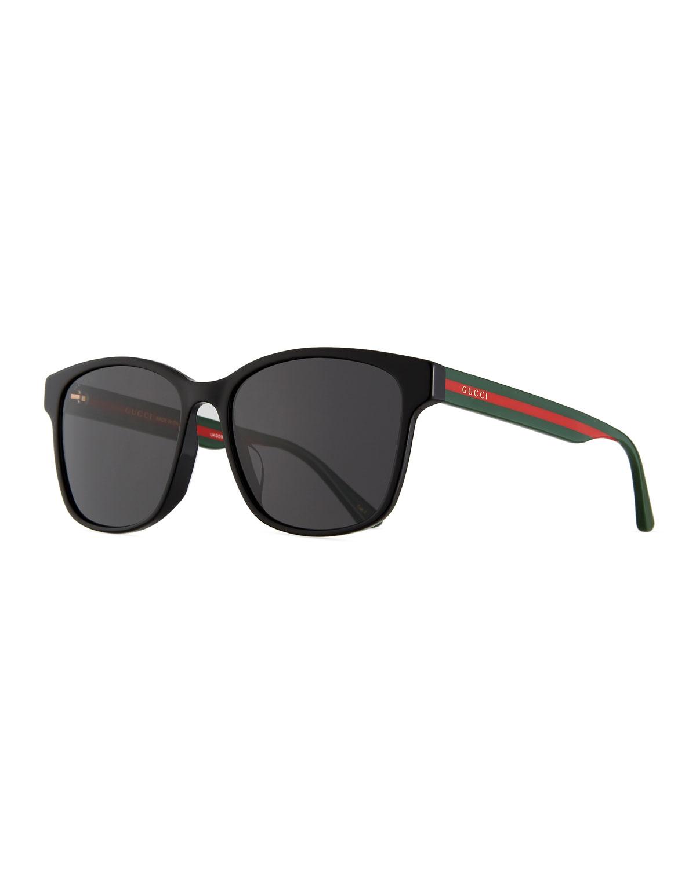 Men's Square Acetate Sunglasses with Signature Web