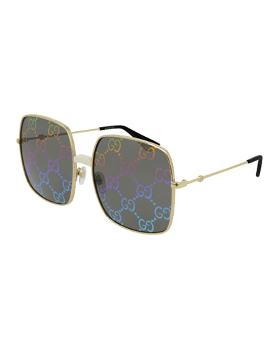 Men's GG Hologram Square Sunglasses