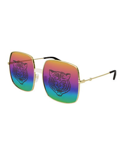 fdd464d6f0 Quick Look. Gucci · Men s Angry Cat Rainbow Square Sunglasses