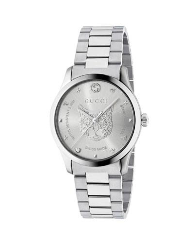 Men's Feline Head Stainless Steel Bracelet Watch