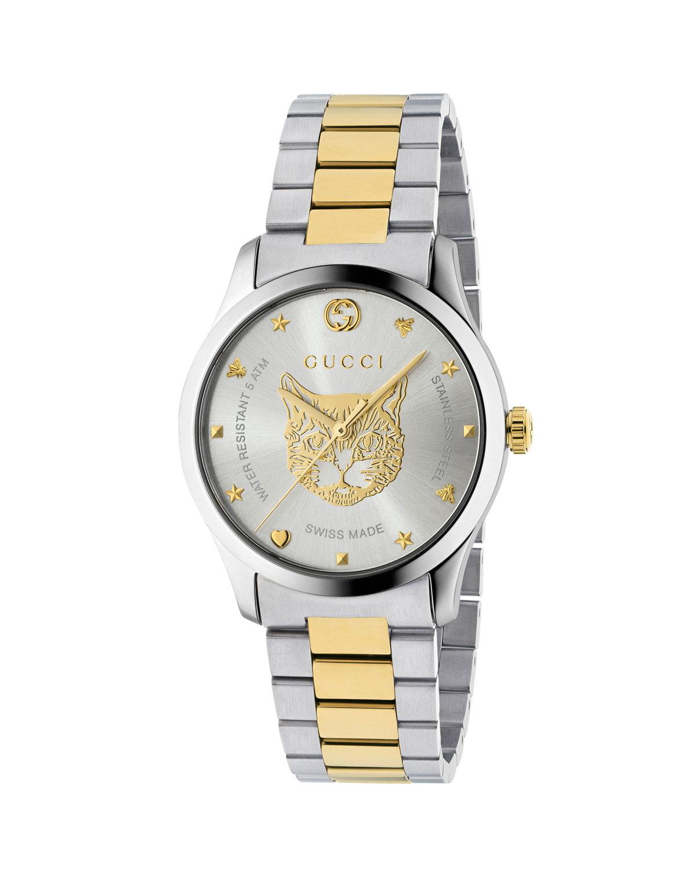 Men's Feline Head Yellow Gold PVD-Trim Bracelet Watch