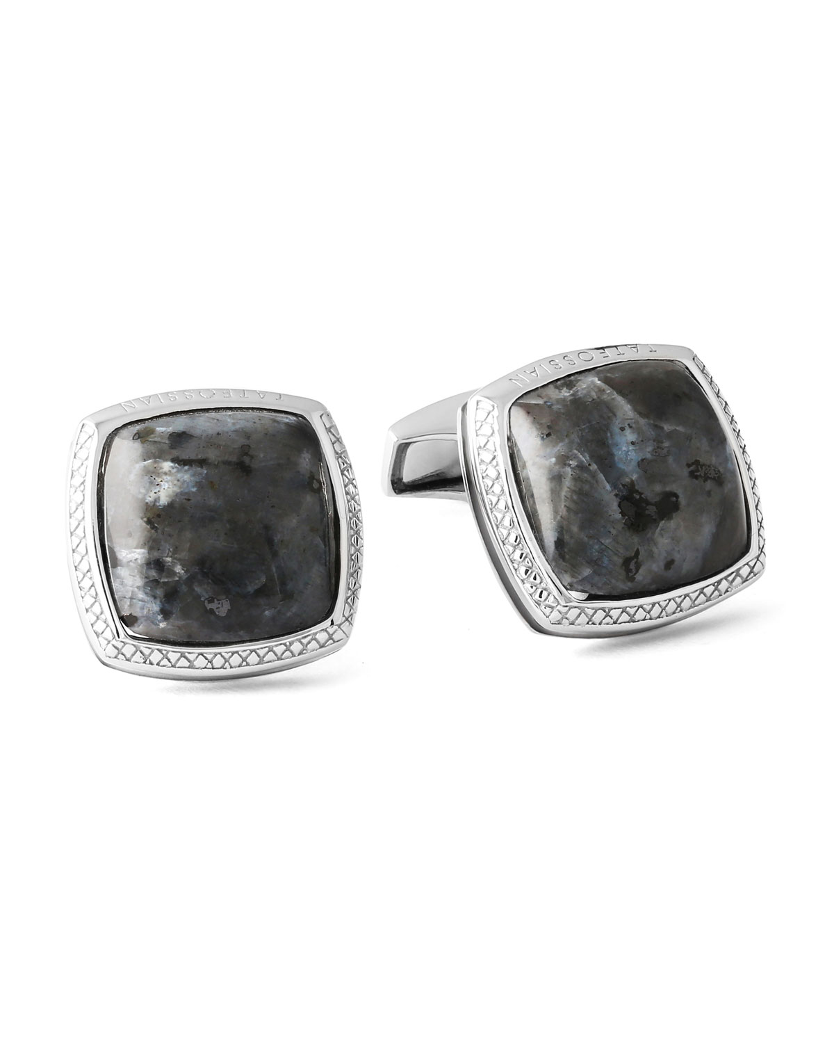 Men's Limited-Edition Square Larvikite Cuff Links