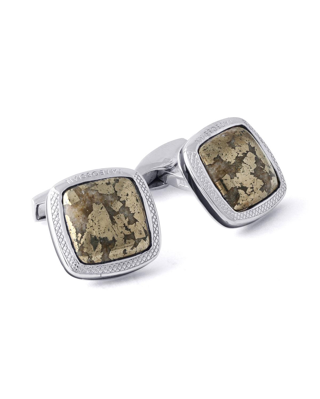 Men's Limited-Edition Square Mica-Fleck Chalcopyrite Stone Cuff Links