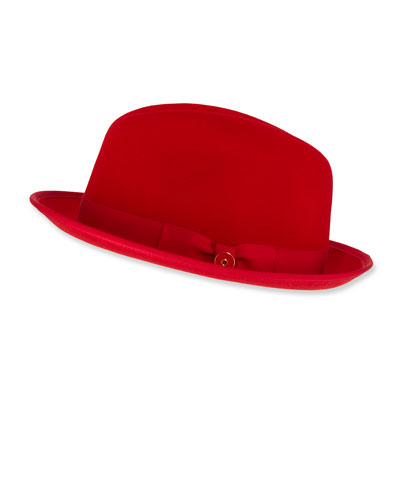 Men's Prince Red-Brim Wool Fedora Hat, Rose